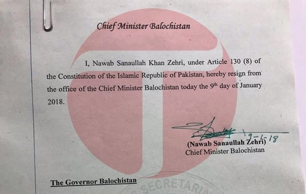 Sanaullah Zehri bows to pressure, resigns as Balochistan chief minister