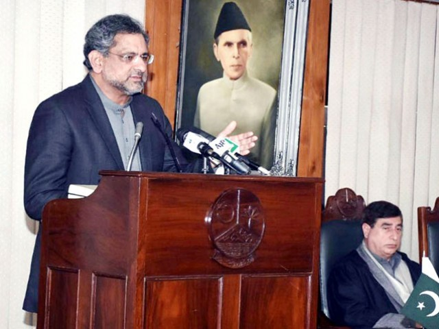 PM Abbasi addresing AJK Assembly. PHOTO: RADIO PAKISTAN