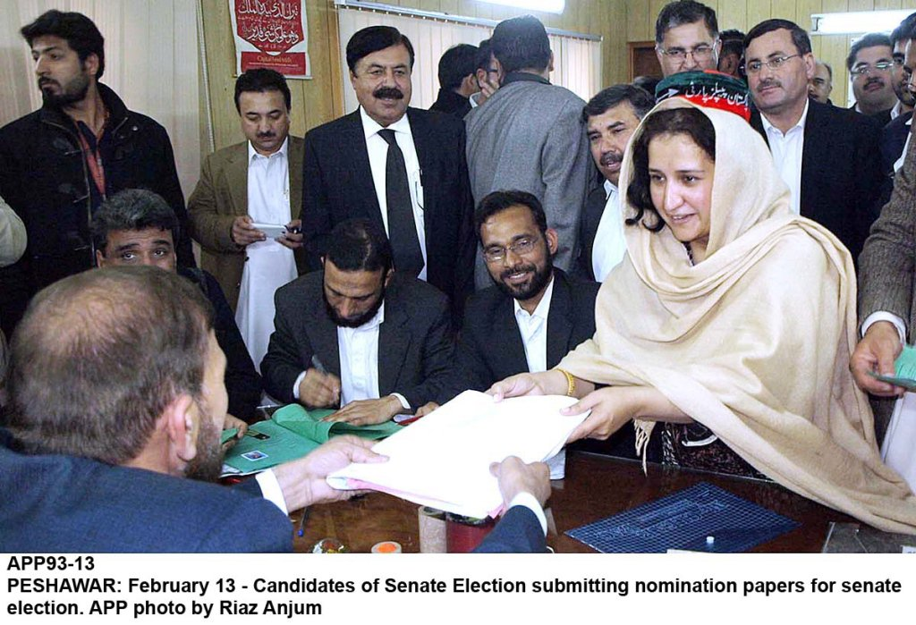 Candidates of Senate Election submitting nomination papers for election. PHOTO:APP