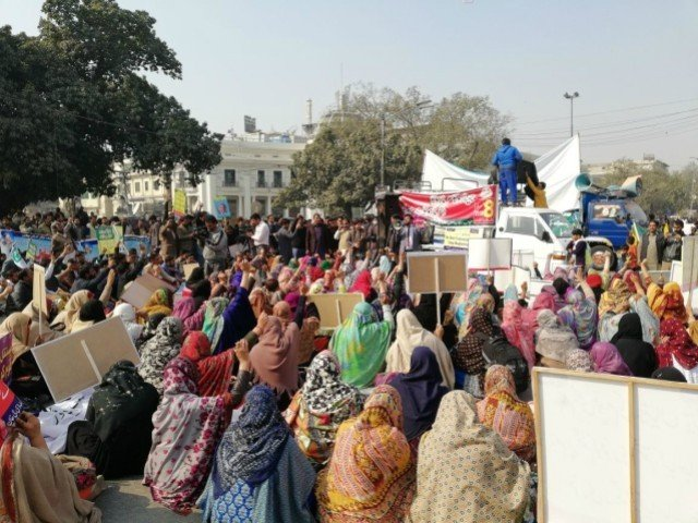 More than 1,500 nutritionists from across province protest at Punjab Assembly, demand permanent employee status. PHOTO: EXPRESS