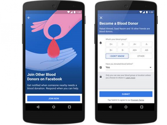 Facebook launched a new feature in Pakistan that makes it easier for people to find blood donors or become donors too. PHOTO: PRESS RELEASE/FACEBOOK