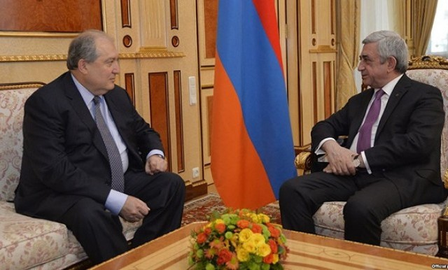 Armen Sarkissian (L) former Armenian prime minister is currently serving as Armenia's ambassador to Britain. He will succeed President Serzh Sarkisian (R) as head of state in April. PHOTO: MassisPost