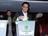 Speaker National Assembly Sardar Ayaz Sadiq casting first vote for Senate Election in National Assembly. PHOTO: NA Secretariat