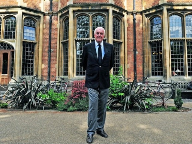 20 2010 French fashion designer aristocrat and founder of Fashion label Givenchy Hubert de Givenchy poses before a speech at Oxford University Union Oxfordshire