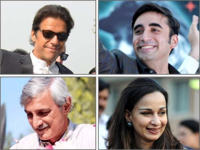 Imran Khan, Bilawal Bhutto Zardari, Jehangir Tareen and Sherry Rehman. PHOTO: EXPRESS