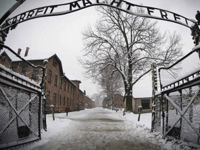 This file photo taken on January 25, 2015 in Oswiecim shows the entrance to the former Nazi concentration camp Auschwitz-Birkenau. PHOTO: AFP