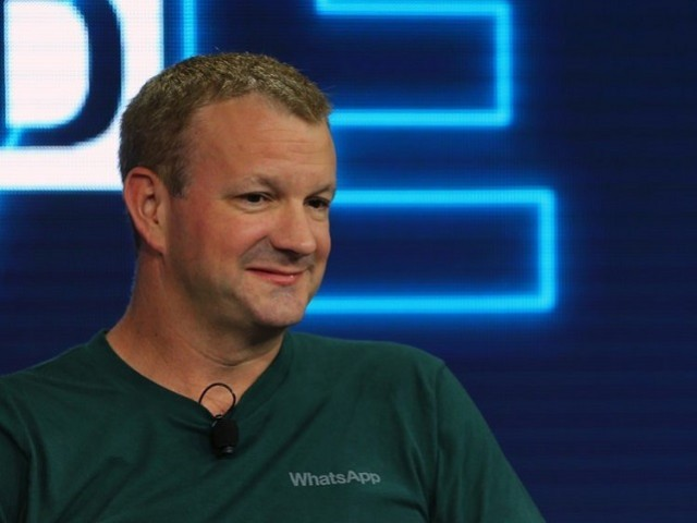 Brian Acton, co-founder of WhatsApp, speaks at the WSJD Live conference in Laguna Beach, California October 25, 2016.  PHOTO: REUTERS