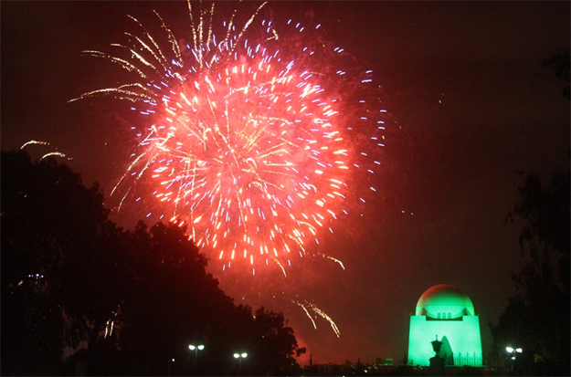 A view of fireworks at Mazar-e-Quaid on Pakistan Day. PHOTO: ONLINE