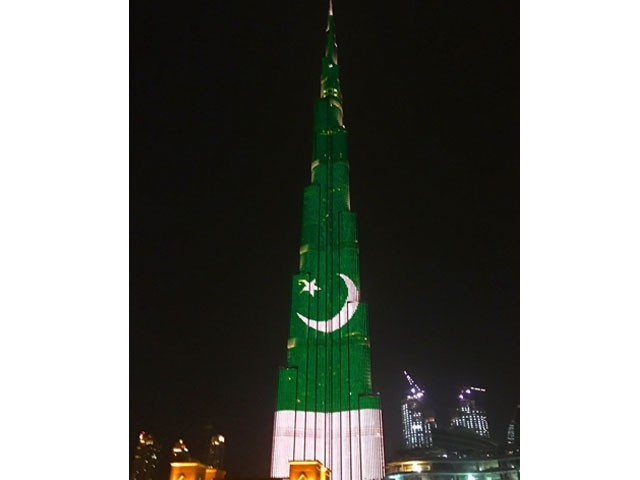 Burj Khalifa lit up in colours of the Pakistan flag. PHOTO: BURJ KHALIFA