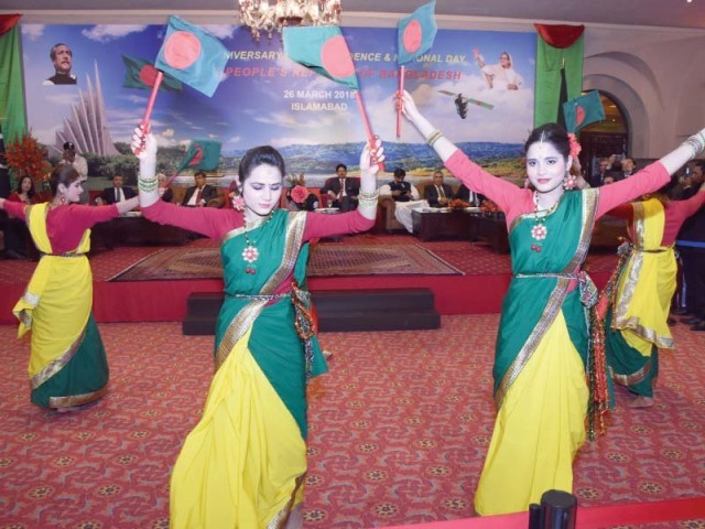 Bangladeshi dancers perform at a local hotel to mark the National Day of Bangladesh. PHOTO: EXPRESS
