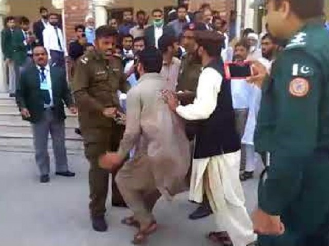 The incident took place outside the court of Additional District and Sessions Judge Ejaz Ahmad Buttar. SCREENGRAB