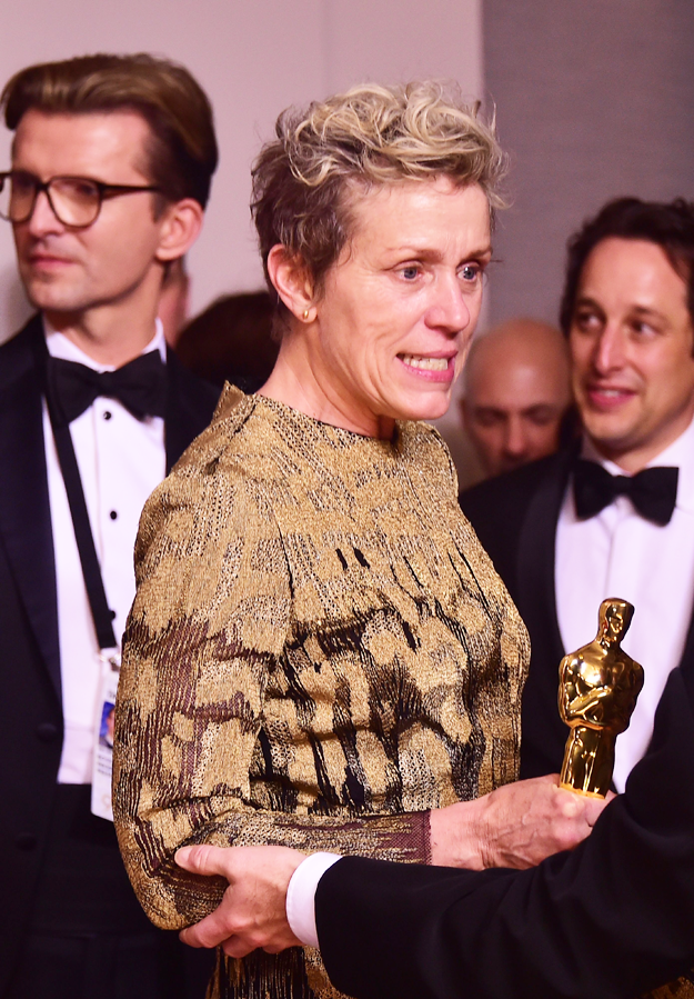 In this file photo taken on March 4, 2018 actress Frances McDormand poses in the press room with the Oscar for best actress during the 90th Annual Academy Awards in Hollywood, California. PHOTO: AFP