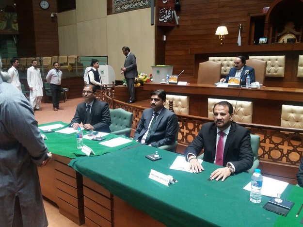 Polling underway in Sindh Assembly. PHOTO: EXPRESS