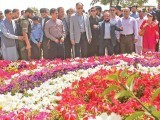 Interior Minister Ahsan Iqbal views flower exhibition at spring festival. PHOTO: ONLINE