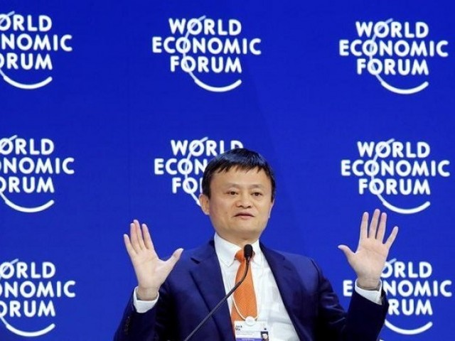Jack Ma, Executive Chairman of Alibaba Group Holding, gestures as he speaks the World Economic Forum (WEF) annual meeting in Davos, Switzerland January 24, 2018. PHOTO: REUTERS
