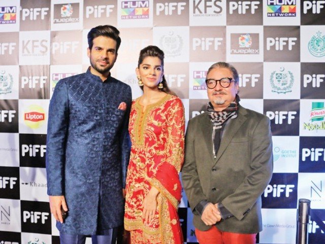Adnan Malik, Sanam Saeed and Vinay Pathak: FILM FESTIVAL, Stars and cinephiles attend the PIFF Awards Gala Night in Karachi.