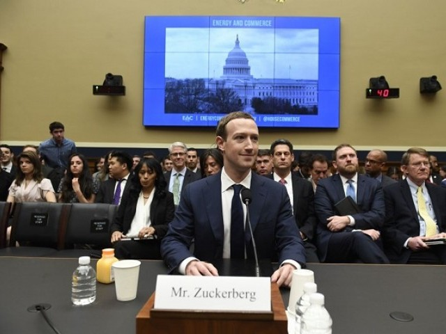 Facebook Chief Executive Officer Mark Zuckerberg testifies during a US House Committee on Energy and Commerce hearing about Facebook on Capitol Hill in Washington, DC on April 11th, 2018. PHOTO: AFP