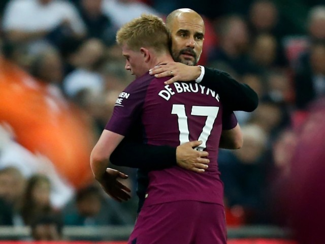 SUBSTANTIAL DIFFERENCE Pep Guardiola's side extended their lead over second-placed Manchester United to 16 points thanks to goals from Gabriel Jesus Ilkay Gundogan and Raheem Sterling at Wembley