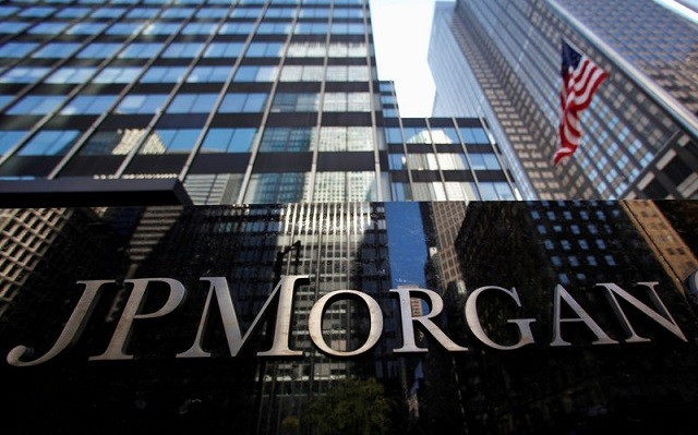 A sign outside the headquarters of JP Morgan in New York, US, September 19, 2013. PHOTO: REUTERS