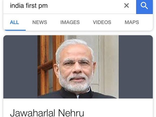 Google can't differentiate between Modi, Nehru