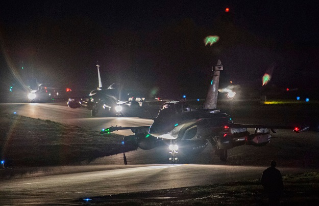 A picture released by the French Defence audiovisual communication and production unit (ECPAD) shows Rafale warplanes preparing for take off at the Saint-Dizier aerial military base in eastern France late on April 13, 2018. The United States, France and Britain carried out a wave of punitive strikes against Bashar al-Assad's Syrian regime in the early hours of April 14, 2018 in response to alleged chemical weapons attacks. PHOTO: AFP