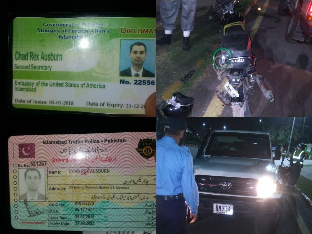 Motorcyclist hit by US embassy vehicle booked for negligent driving