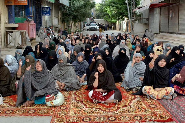 Hazara women stage a protest demonstration at Alamdar Road in Quetta on Sunday. PHOTO: INP