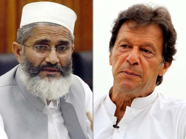JI chief Sirajul Haq with PTI chairman Imran Khan. PHOTO: EXPRESS