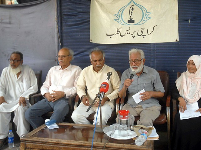 Karamat Ali, Nasir Mansoor, Saeeda Khatoon and others at a press conference at the KPC. PHOTO: IRFAN ALI