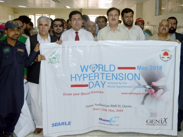 Doctors holding an awareness rally on the occasion of World Hypertension Day. PHOTO: DGPR