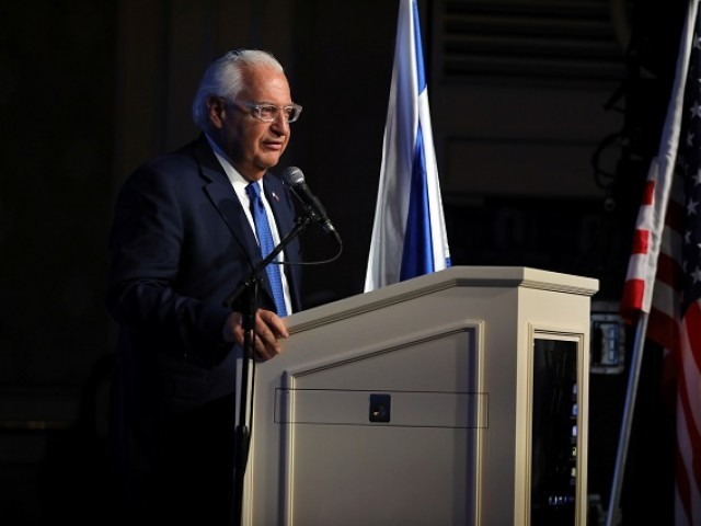 US Ambassador to Israel David Friedman speaks during a reception hosted by the Orthodox Union in Jerusalem ahead of the opening of the new US embassy in Jerusalem, May 14, 2018. PHOTO: REUTERS