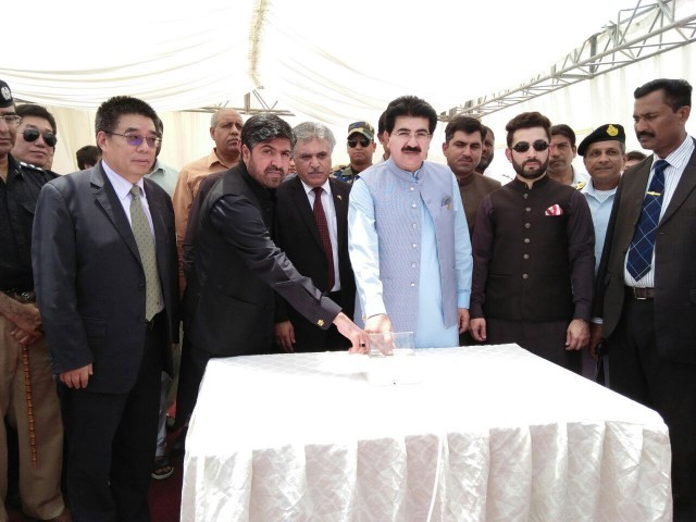 Senate Chairman Sadiq Sanjrani inaugurating the desalination plant in Gwadar. PHOTO: DGPR