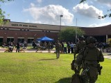 Law enforcement officers are responding to Santa Fe High School following a shooting incident in this Harris County Sheriff office, Santa Fe, Texas, US, photo released on May 18, 2018. PHOTO: REUTERS