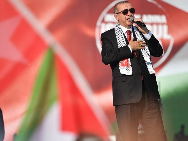 Turkish President Recep Tayyip Erdogan addresses a protest rally in Istanbul on May 18, 2018. PHOTO: AFP