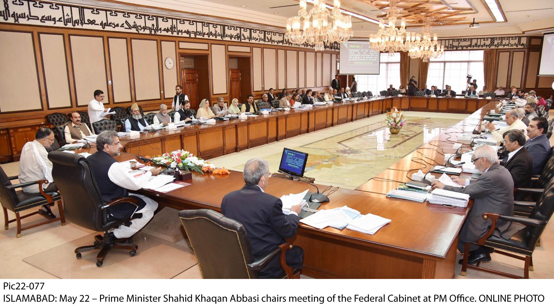 PM Abbasi chairs cabinet meeting PHOTO:ONLINE