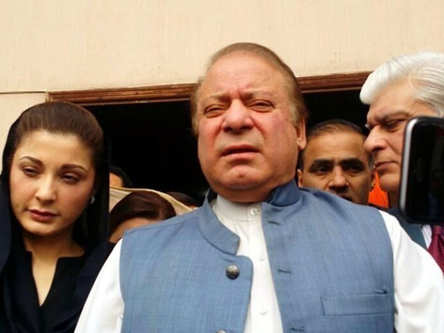 Former PM Nawaz Sharif with his daughter Maryam outside an accountability court in Islamabad. PHOTO: FILE