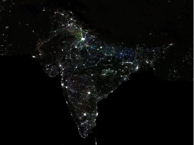 The economists used the night lights to gather data and study 387 out of 640 districts from 12 states. PHOTO: NASA