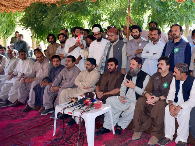 BAP President Jam Kamal addressing a news conference where Nawabzada Siraj Raisani, Noor Ahmed Bangulzai and others joined the party. PHOTO: EXPRESS