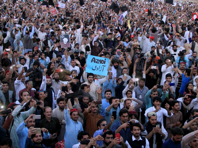 Activists at Pashtun Tahaffuz Movement protests. PHOTO: REUTERS.