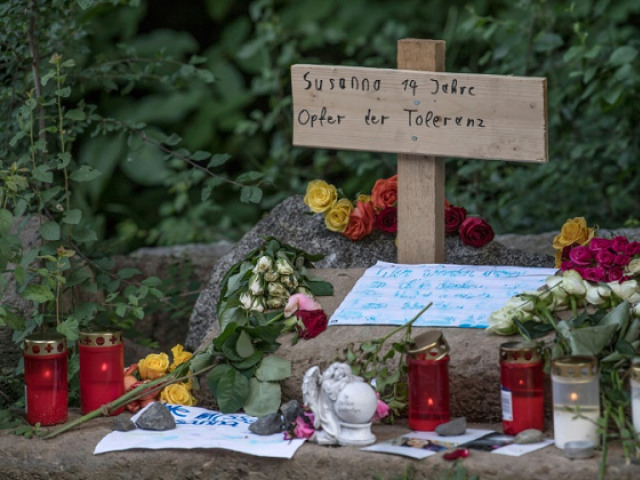 Flowers for Susanna Feldman, the suspect's victim. PHOTO: AFP.