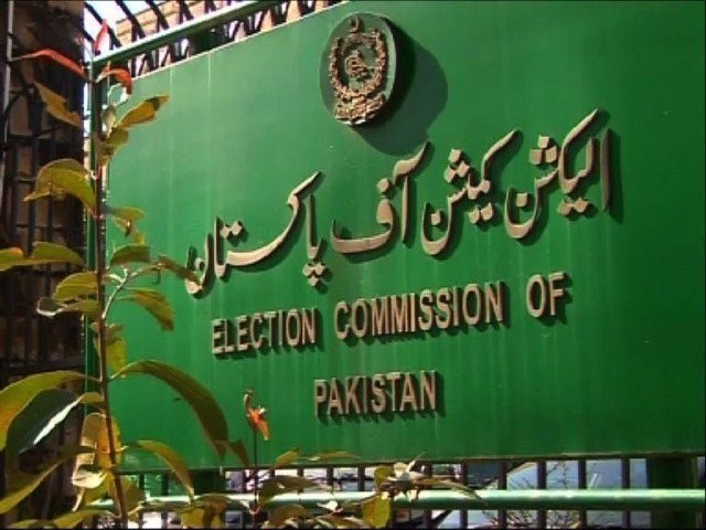 Board displaying the Election Commission of Pakistan logo and sign. PHOTO: FILE