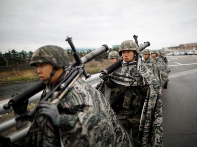 The US-South Korean exercise calendar hits a high point every year with the Foal Eagle and Max Thunder drills, which both wrapped up last month.  PHOTO: REUTERS