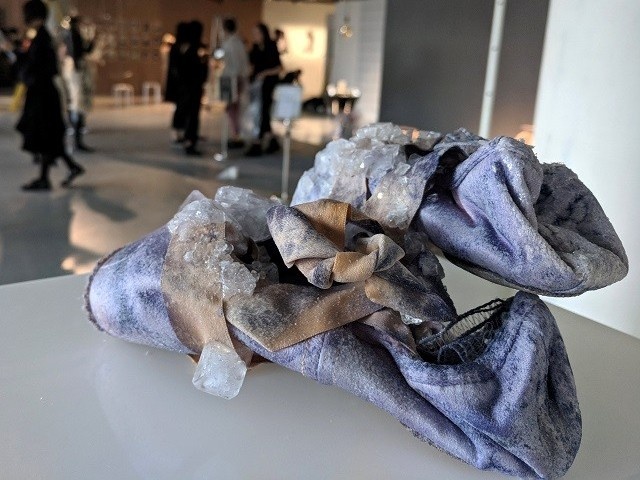 Urine crystals grow on a pair of ballet shoes, as part of a collection by Alice Potts. PHOTO: REUTERS