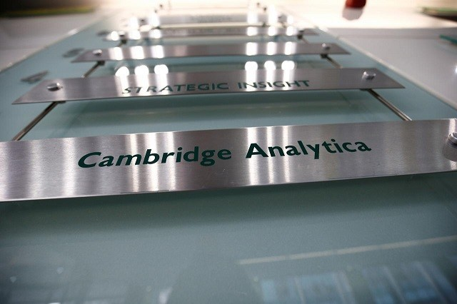 FILE PHOTO: The nameplate of political consultancy, Cambridge Analytica, is seen in central London. PHOTO: REUTERS
