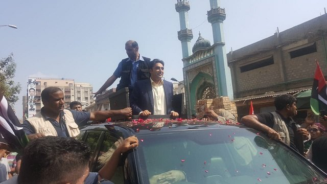 Bilalwal Bhutto Zardari in Lyari. PHOTO: EXPRESS