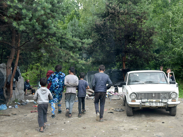 The picture shows a Roma camp on the outskirts of Lviv which is hidden in the forest on the other side of the city and still remains inhabited. On June 23, a group of masked individuals attacked the camp on the outskirts of the city of Lviv with knives killing one person and injuring four others including a child.  PHOTO: AFP