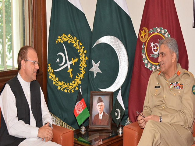 COAS Bajwa with Afghan envoy. PHOTO: ISPR