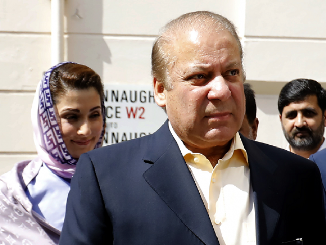 Former prime minister Nawaz Sharf and his daughter Maryam Nawaz.  PHOTO:AFP