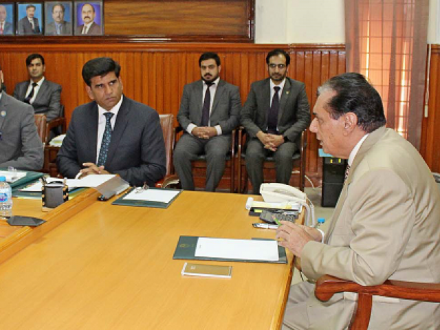 NAB Chairman Justice (retd) Javed Iqbal addressing NAB Balochistan officers in Quetta. PHOTO: EXPRESS