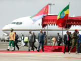Eritrea's President Isaias Afwerki is welcomed by Ethiopian Prime Minister Abiy Ahmed upon arriving for a three-day visit, at the Bole international airport in Addis Ababa, Ethiopia July 14, 2018.  PHOTO: REUTERS
